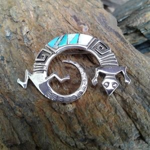 Sterling Silver Turquoise  Inlaid Lizard Pin